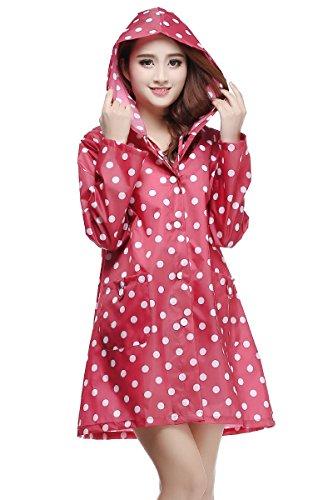 Lanbaosi Women's Polka Dots Raincoat Cute Rain wear Waterproof Poncho - Cute Polka Dots