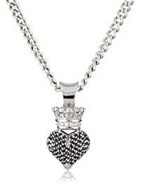 3D Crowned Heart Pave with Silver Pendant Necklace
