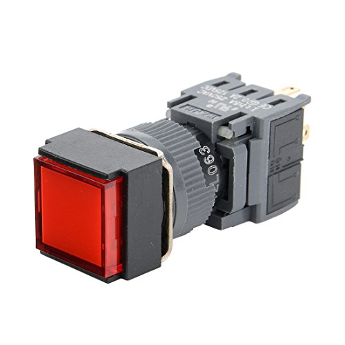 24v 16 Mm Led (uxcell Latching Push Button Switch Square Head 16mm Mounting Dia SPDT 1NO 1NC with 24V Red LED Light)