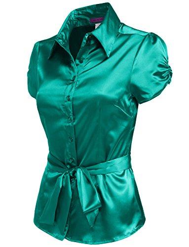 NE PEOPLE Womens Basic Short Sleeve Satin Blouse Top with Waist Tie