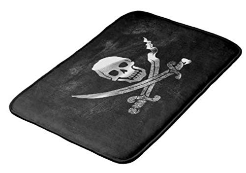 Aomsnet Black Pirate Flag Skull and Crossbones Bathroom Decor Mat, Shower Rug Mat Water Absorbent Fast Drying Kitchen, Bedroom, Hotel, Spa Tub.24 L X 16