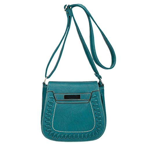 Messager Snap (WILLTOO Womens Leather Shoulder Bag Vintage Pure Color Coin Bag Purse Crossbody Messenger Hand Bag (Green))