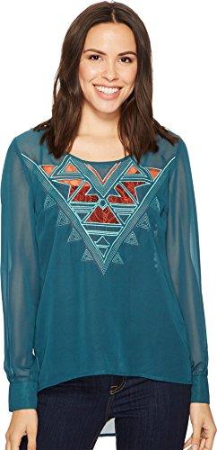 (Cruel Women's Long Sleeve Polyester Chiffon - Lace Insert Teal)