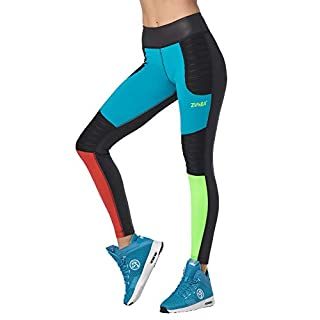 Zumba Soft Fitness Wide Waistband Workout Compression Print Leggings for Women, Bold Black 3, XL