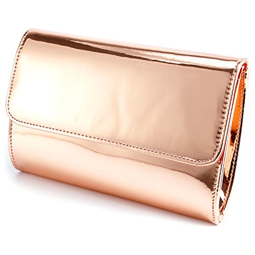 Fraulein38 Designer Mirror Metallic Women Clutch Patent Evening Bag