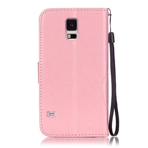 Ukayfe Flip funda de cuero PU para Samsung Galaxy S5, Leather Wallet Case Cover Skin Shell Carcasa Funda para Samsung Galaxy S5 con Pintado Patrón Diseño, Cubierta de la caja Funda protectora de cuero Diamant Schmetterling Rosa