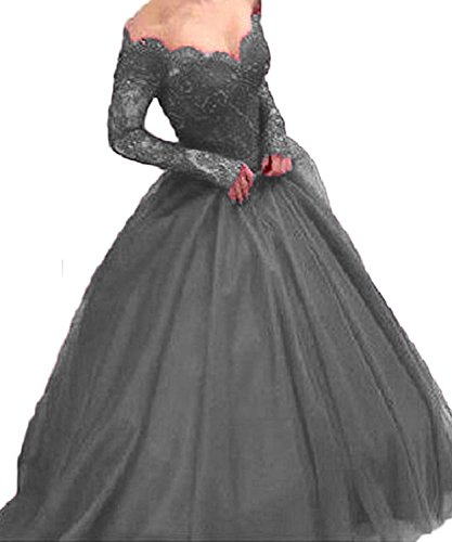 Grey Long Lace The Ball BessDress Formal Sleeves Illusion Evening Shoulder Off BD282 Party Gown Aq1w4B