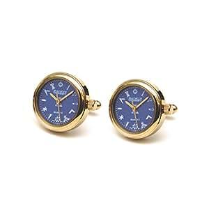 Hombres de la Logia Masónica chapado en oro esfera azul reloj gemelos G413, Velvet Pouch