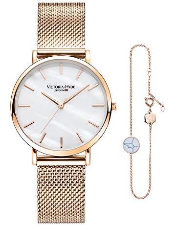 bd20b9e5246 VICTORIA HYDE Watch Bracelet Set for Women Analog Quartz Steel Band Ladies   Wristwatch Adjustable Bracelet