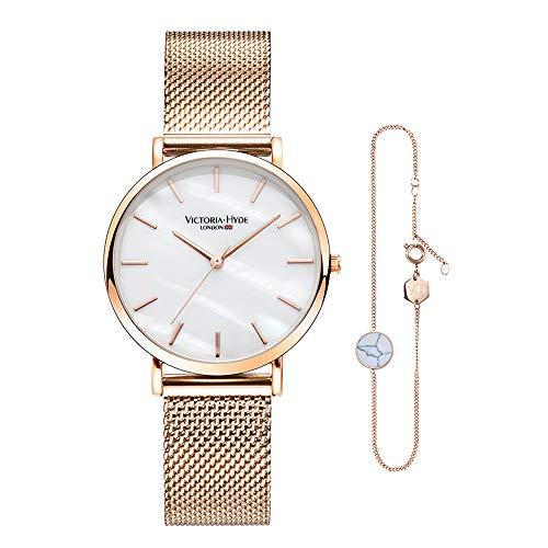 White Bracelet Ladies Watch (VICTORIA HYDE Watch Bracelet Set for Women Analog Quartz Ladies Wristwatch Adjustable Bracelet)