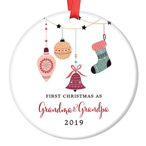 - Grandma & Grandpa Ornament 2019 Cute First Christmas as New Grandparents Ceramic Family Keepsake Present 1st Holiday as Grandmom & Grandpop 3