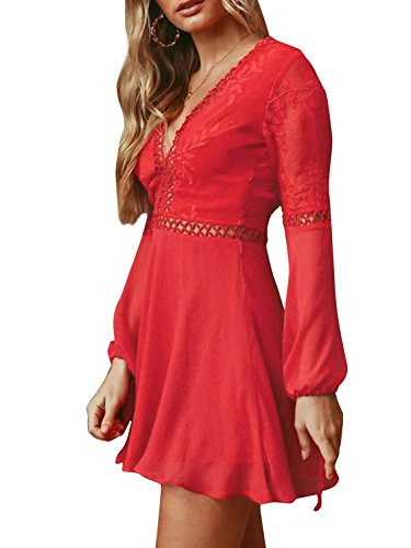 Neck V Women's Mini Backless Elegant Lace Sexy Dress Red Chiffon BerryGo R1qpOwOn