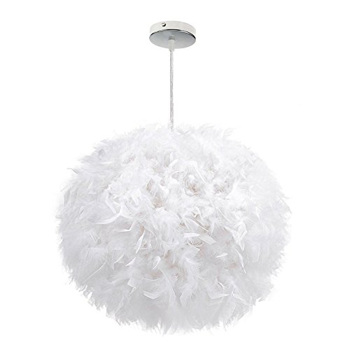 White Feather Ceiling Pendant Light Shade, Large Size 16 Inch Simple Luxury White Feather Ball E27 Lampshade Floor Lamp Decorative Droplight Shade for Living Room Bedroom by LOVFASHION (Image #1)