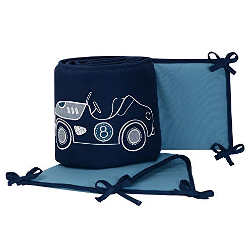 Lambs & Ivy Metropolis Blue Embroidered Car & Truck 4-Piece Baby Crib Bumper - Embroidered Lamb