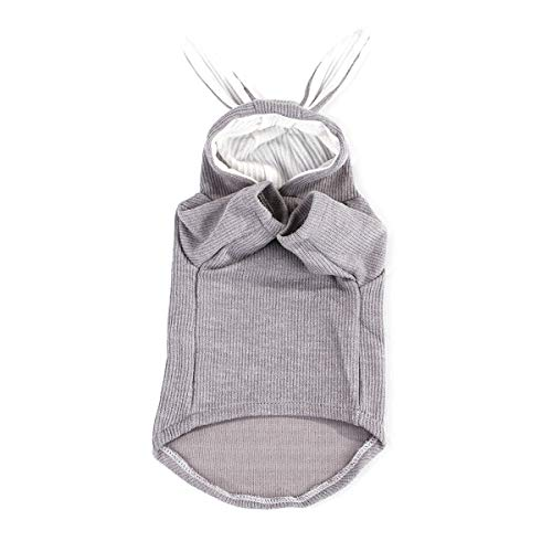 Aisheny Pet Dog Cat Spring Autumn Hoodie T-Shirt Clothes, Rabbit Ear Hooded Animal Puppy Teddy Poodle Coat (Color : Gray, Size : L) ()