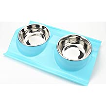 Aidle Fashion Elegant Stainless Steel Pet Double Dog Bowl Puppy Cat Durable Water Dish Feeder Leak Proof Dog Bowls (Blue)