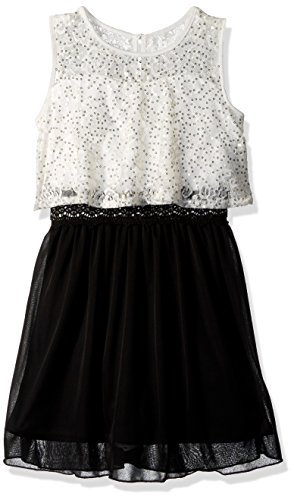 Amy Byer Girls Big Fit and Flare Popover Dress with Sequins
