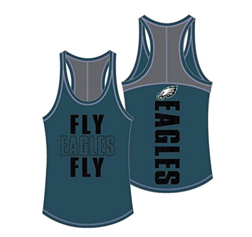 5th & Ocean NFL Philadelphia Eagles Women's Baby Jersey Racer Back Tank Top with Contrasting Colors, Large, Teal