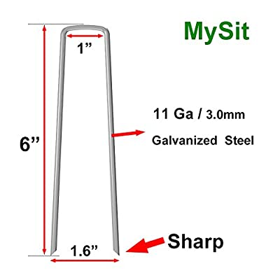 "Mysit Anti-Rust Galvanized Ground Staples 6""x1""x6"" 11 Gauge (3.0mm) Heavy-Duty Steel Sod Stakes Anchor Pins U-Shaped Garden Securing Pegs for Securing Landscape Weed Fabric …"
