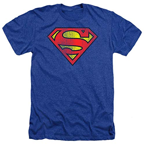 Superman Classic Logo Distressed Heather T-Shirt & Exclusive Stickers