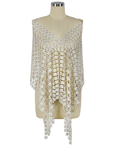 PrettyGuide Women's 1920s Shawls Full Embroidery Pashmina Fringed Evening Wraps