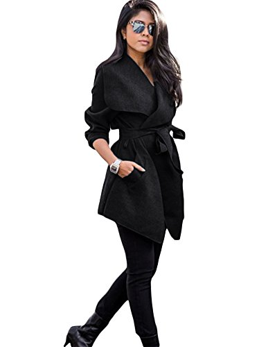 Romacci Womens Winter Lapel Long Sleeve Jacket Long Trench Coat Pocket Outwear With Belt