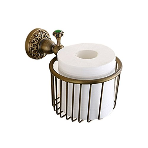 French Gold Toilet Tissue Holder - Beelee Vintage Antique Brass Finish Wall Mount Roll Toilet Paper Wire Basket Toilet Tissue Caddy Storage Bathroom Shower Cosmetic Holder Soap Basket