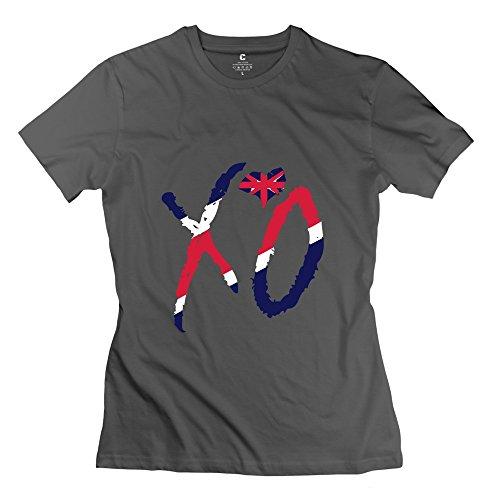 WXTEE Women's Xo Uk Flag T-shirt Size XXL DeepHeather