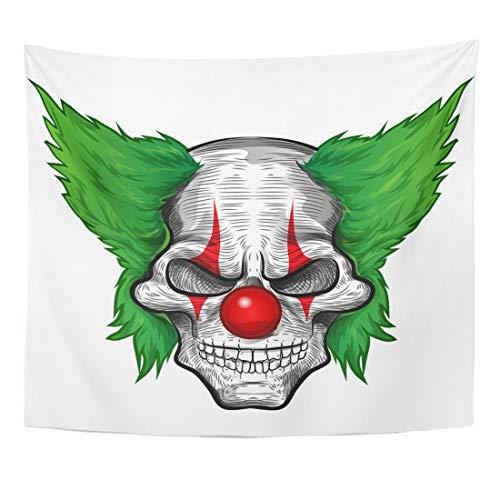 Semtomn Tapestry Evil Black Scary Clown Skull White Joker Zombie Face Home Decor Wall Hanging for Living Room Bedroom Dorm 50x60 Inches -