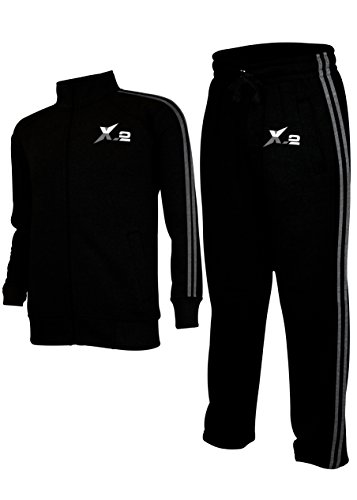 Fleece Suit Athletic (X-2 Mens Athletic Full Zip Fleece Tracksuit Jogging Sweatsuit Activewear Black XXL)