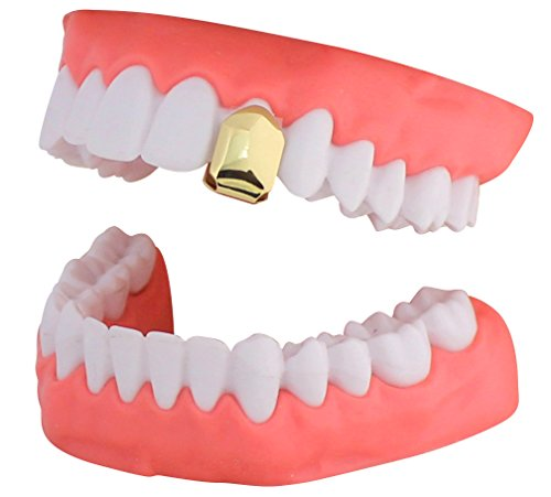 (NewAgeBling 14k Gold Plated Small Single Tooth Cap Grillz Hip Hop Teeth Grill w/Mold)