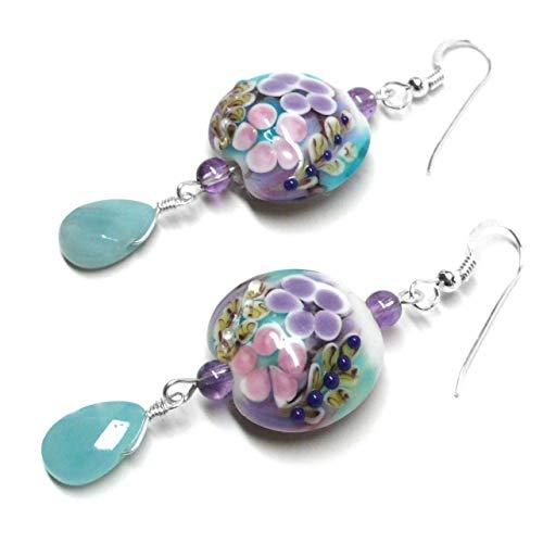 Lavender Pink Aqua Floral Lamp Work Glass Amazonite Briolette Earrings Sterling Silver