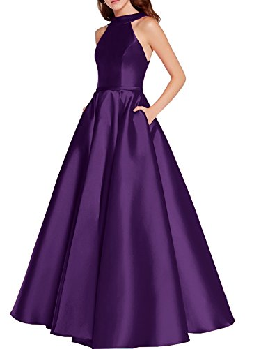 Vestito Bellezza Tasche Sposa Formale Abiti Promenade Lunghi Donne Melanzane Da Con Da Capestro Sera Festa drqwrO4