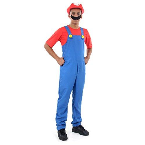Mario Bros Teen Sulamericana Fantasias Azul/Vermelho M-36