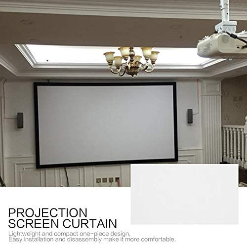 Rideau de Projection de 84 Pouces en Tissu Non tiss/é Blanc Doux et portatif pour Le cin/éma Maison de Salle de conf/érence KTV Ba Blanc