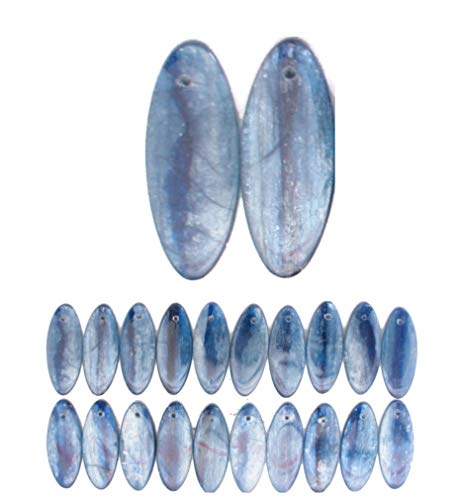 Rare Rare Genuine Blue Kyanite Gemstone 10x25mm Flat Oval Slab Beads (Pkg of 3) for Jewelry Making Projects ()