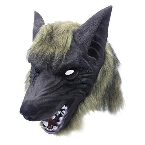 XILALU Horror Animal Head Mask, Halloween Creepy Tiger Wolf Furry Latex Headgear Party Cosplay Costume Props Toy -