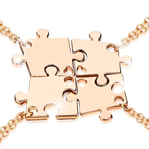 Boormanie (4 Pcs) Best Friend Necklaces for Women, Fashion Puzzle Pendant Necklace for 4,Metal Chains (Golden) (Four Best Friend Necklaces)