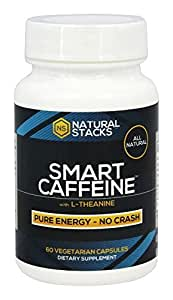 Smart Caffeine Nootropic Stack with L-theanine for Focused Energy | No Jitters or Crash | #1 Recommended Nootropic Stack in the World!, 60 capsules