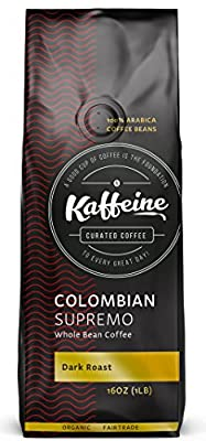 Kaffeine Koffee Organic Colombian Supremo Dark Roast Whole Bean Specialty Gourmet Coffee