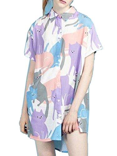 Joeoy Women's Multicolor Cartoon Cat Print Short Sleeve Button Down Shirt 41Hau4ousML