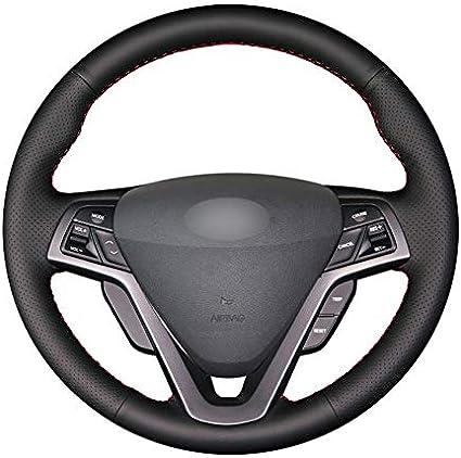 Auto Lenkrad Abdeckung PU Leder Durchmesser 38cm Handnähen schwarz Abdeckung