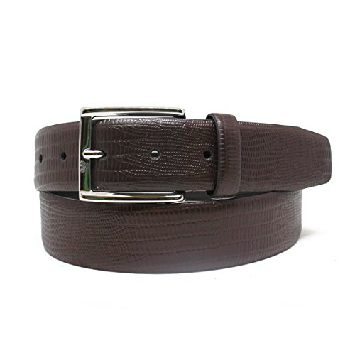 Brown Lizard Print Leather - Men's Lizard Print Leather Belt (36, Brown)