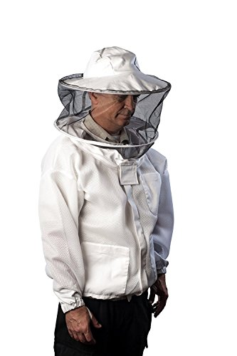 Pro-Breeze Ventilated Beekeeping Jacket For Men/Women By Forest Beekeeping Supply | Round Vented Apiary Jacket W/Veil Hood For Beginner/Commercial Beekeepers | Brass Zippers and Thumb Straps (X-LARGE) ()