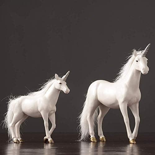 LINlq 彫刻[装飾]、ホームデコレーションユニコーン馬の装飾樹脂は、デスクトップの宝石の樹脂の装飾品、ホワイト工芸 (Color : White, Size : 9.4inch)