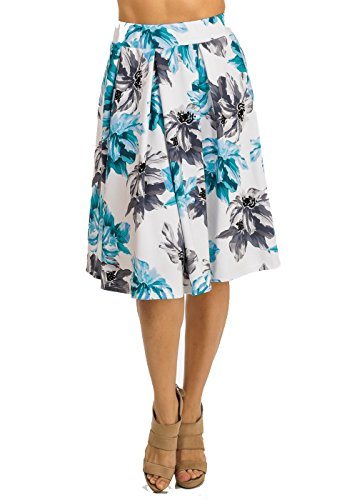 Sophisticated Blue Floral A-Line High Waist Women's Juniors Midi Skirt 20604V