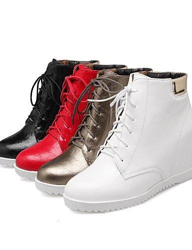 XZZ/ Damen-Stiefel-Kleid-Kunstleder-Keilabsatz-Modische Stiefel-Schwarz / Weiß / Silber white-us5 / eu35 / uk3 / cn34