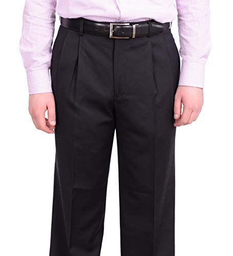 Stafford Classic Fit Solid Black Double Pleated Wool Dress Pants