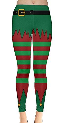 CowCow Womens Xmas Elf Leggings, Xmas - (Red And Green Leggings)