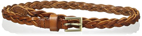elise m. Women's Lawrence-Leather Braided Super Skinny Belt Worn On Hip Or Waist, Cognac, Small/Medium